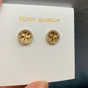 Tory Burch Crystal Circle Logo Gold Stud Earrings
